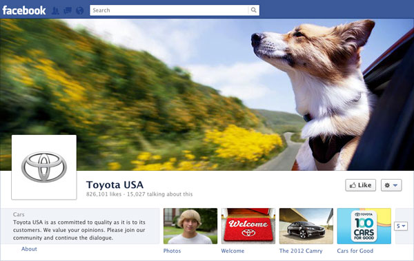 Facebook Brand Timeline Toyota