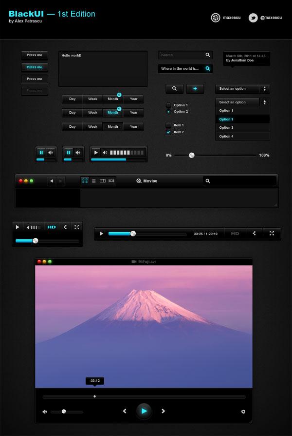 Dark GUI Mockup Interface UI (PSD)