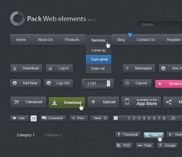 GUI Web Interface Mockup UI (PSD)
