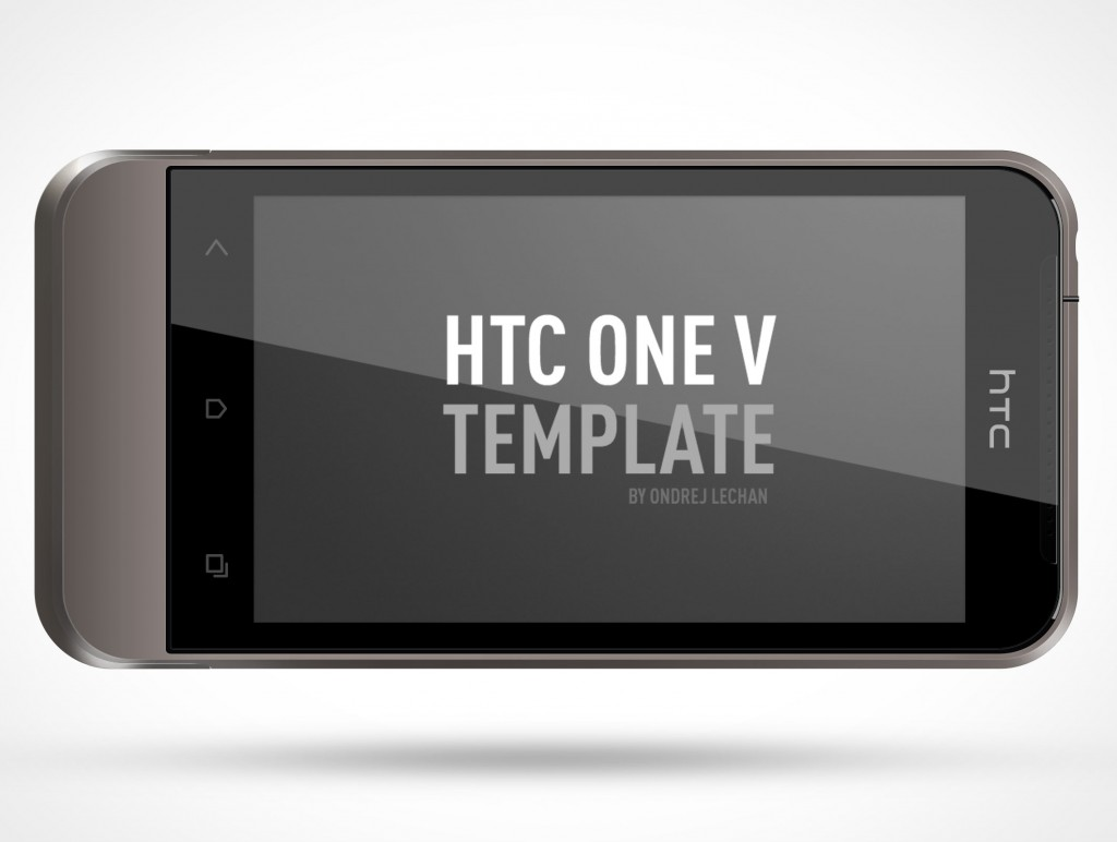 PSD Mockup Android HTC One V Landscape Template