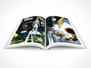 PSD Mockup Graphic Novel 30 Degree Centerfold Topview