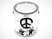 PSD Mockup 1 Gallon Banksy Paint Can Shot from Three Quarter View
