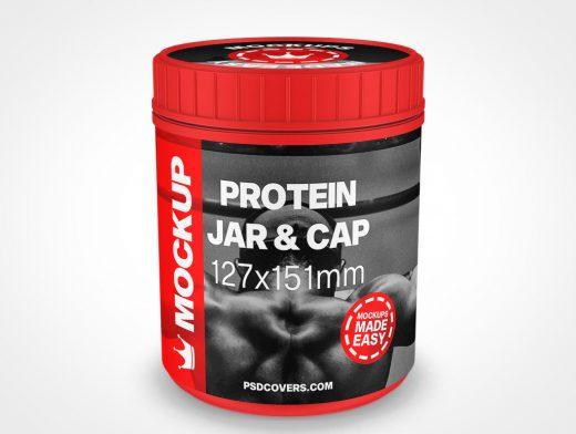 PROTEIN JAR RIBBED CAP MOCKUP 127X151
