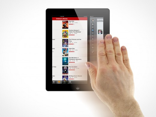 iPad 3 Multi-Touch Wipe Gesture Male Hands