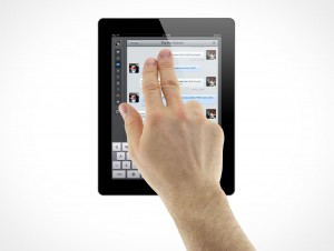 iPad 3 Multi-Touch 2 finger gesture Male Hands