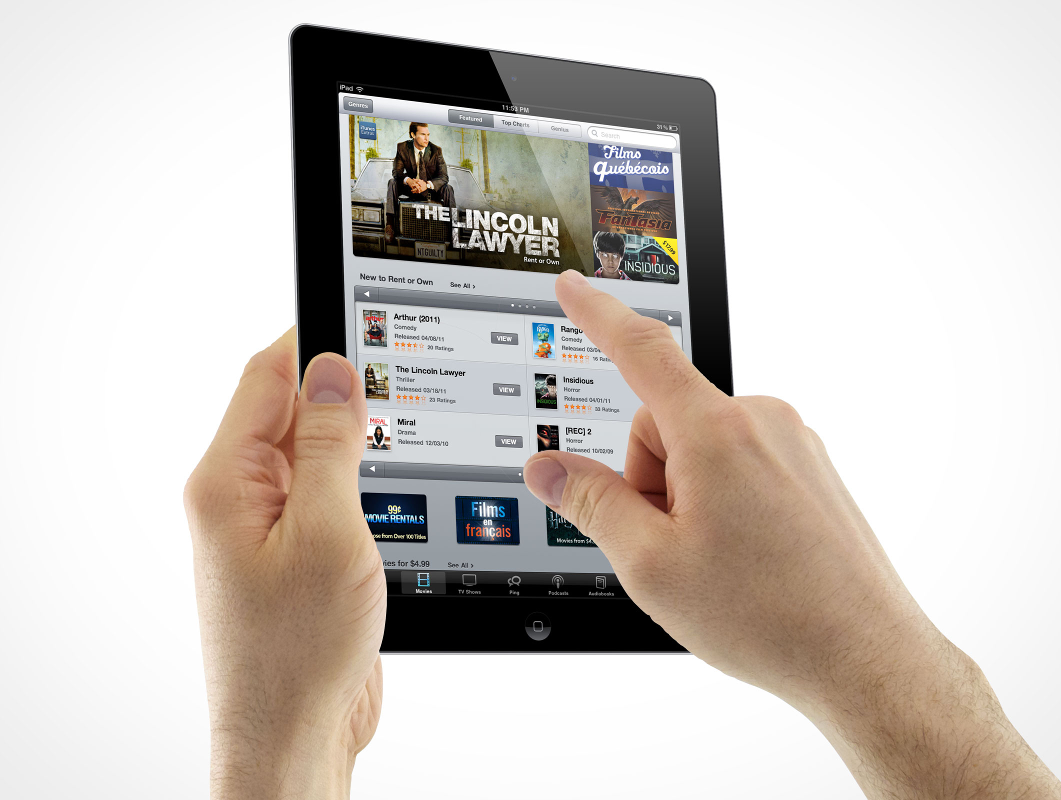 iPad 3 Multi-Touch Gestures Holding Pointing Male Hands