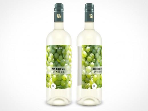 PSD Mockup Glass White Wine Bottle