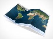 PSD Mockup 3 Panel Tri Fold Brochure globe