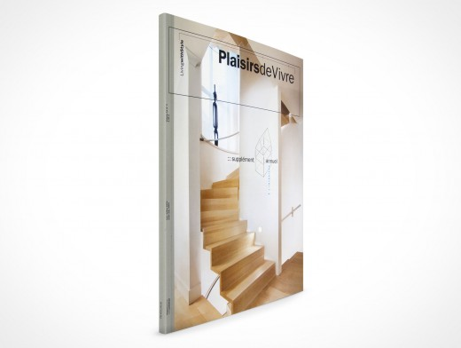 PSD Mock-Up Magazine Front Cover Action three quarter View