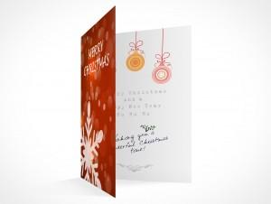 PSD Mockup seasons greeting holiday christmas snowflake card