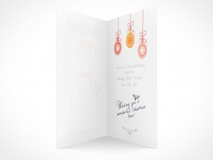 PSD Mockup seasons greeting holiday snowman card