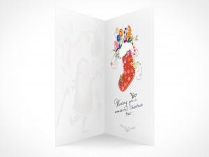 PSD Mockup seasons greeting holiday santa claus card