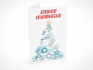 PSD Mockup seasons greeting holiday christmas tree card