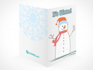 PSD Mockup seasons greeting holiday snowman card