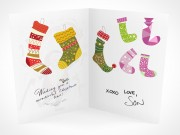 PSD Mockup seasons greeting holiday santa claus card