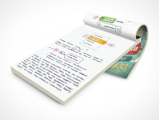 PSD Mockup Notepad Grundge Weathered Worn