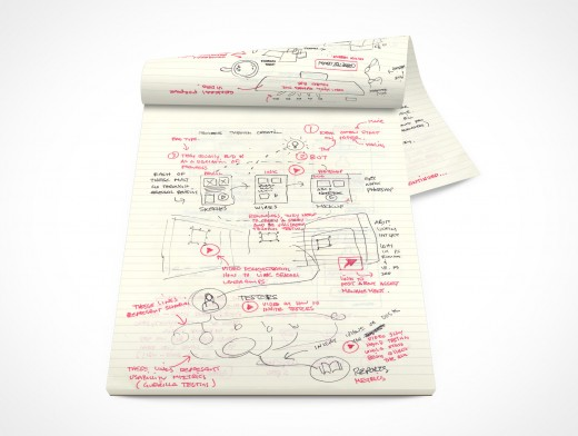 PSD Mockup Open Office Stationary Concept Sketching Pad
