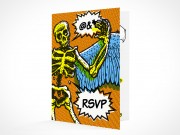 PSD Mockup RSVP halloween party invitation card