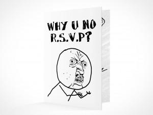 PSD Mockup RSVP why u no party invitation card