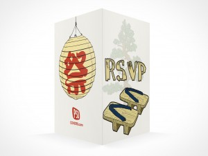 PSD Mockup RSVP banzai party invitation card