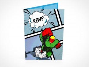 PSD Mockup RSVP birthday party invitation card