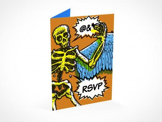 PSD Mockup RSVP halloween party invitation card