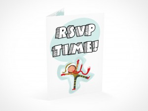 PSD Mockup RSVP youth party invitation card