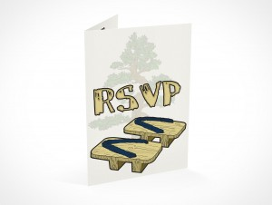 PSD Mockup RSVP banzai party invitation card
