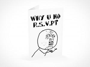 PSD Mockup RSVP fuuu why u no party invitation card