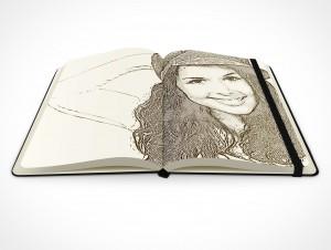 PSD Mockup hardcover moleskine notebook sketch