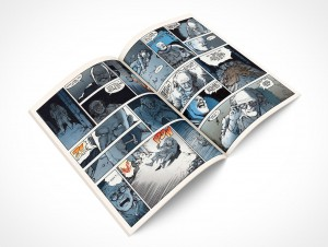 PSD Mockup Open Comic Book