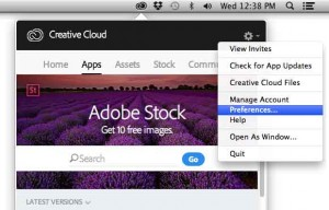 select preferences from the creative cloud menu