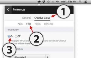 turn creative cloud app sync ON