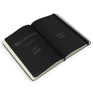 PSD Mockup of open and rotate notebook