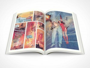 PSD Mockup Graphic Novel Glossy Print Centerfold Topview