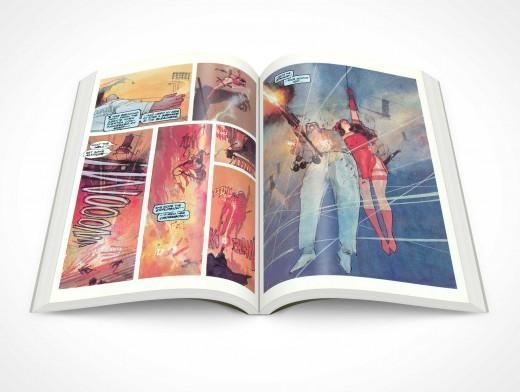 PSD Mockup Graphic Novel Glossy Print Centerfold Topview