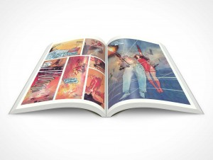 PSD Mockup Graphic Novel Glossy Print 30 Degree Centerfold Topview