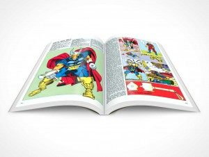 PSD Mockup Softcover Graphic Novel 30 Degree Top View