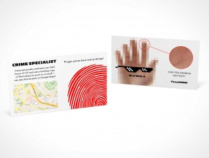 PSD Covers business card mockup looking down front view land scape