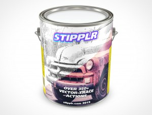 PSD Mockup 3,87L Gallon Paint Can Steel Lid Top View