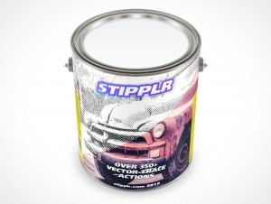 PSD Mockup 3,87L Gallon Paint Can Steel Lid Three Quarter Top View