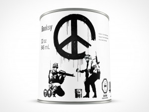 PSD 32oz Steel Paint Can Mockup Facing Forward
