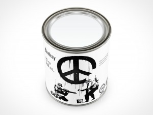 PSD Mockup 946mL Banksy Paint Can Shot from Three Quarter View