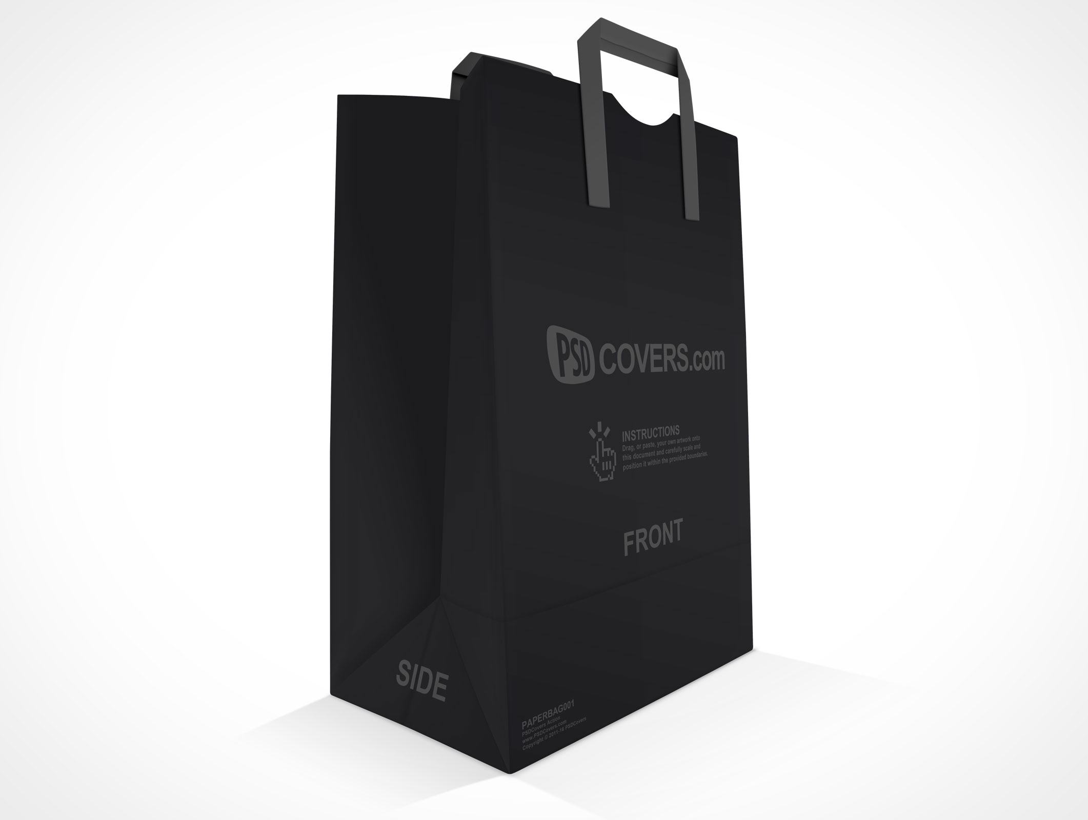 PSD Mockup Shopping Grocery Paper Bag three quarter view