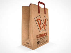 PSD Mockup PA Supermarche Standing Grocery Paper Bag