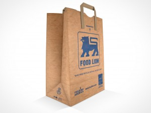 PSD Mockup Standing Empty Grocery Paper Bag with handles