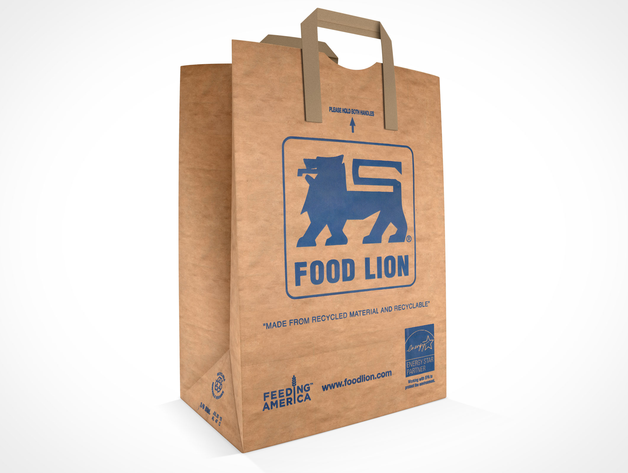 PSD Mockup Standing Grocery Paper Bag with handles