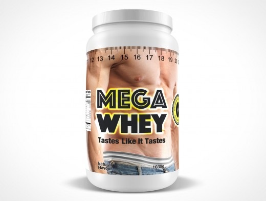 PSD Mockup standing WHEY Protein Powder Container