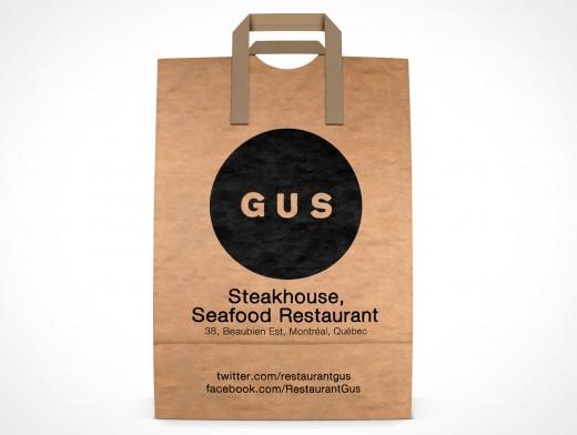 PSD Mockup GUS Steakhouse Restaurant forward facing Paper Bag