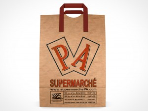 PSD Mockup Front PA Supermarche Standing Grocery Paper Bag